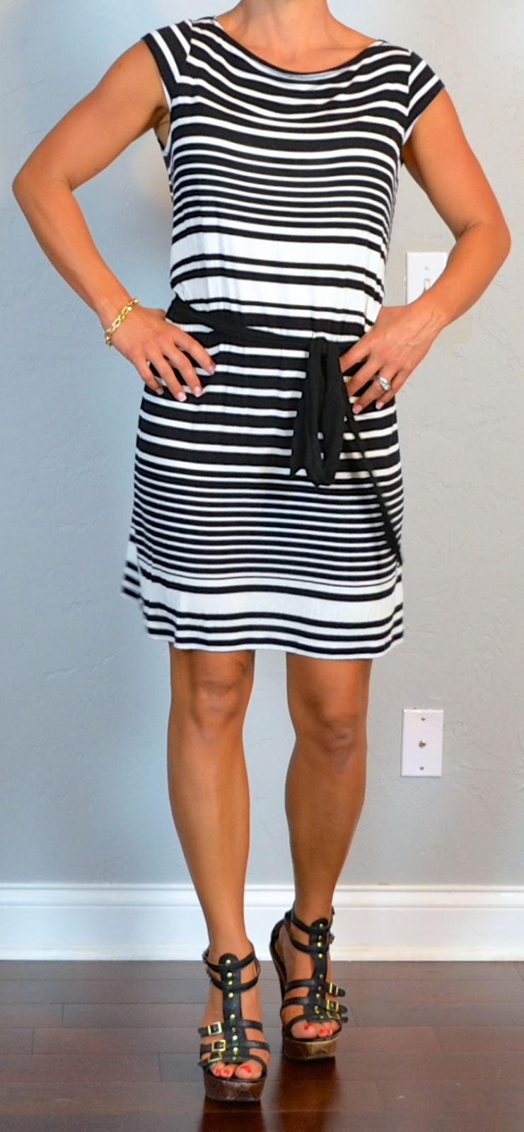 Outfit Post Black And White Striped Dress Gladiator Heels