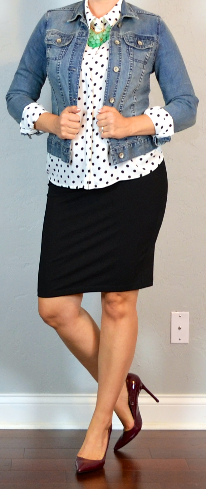 9b18a44053cc outfit post maternity: polka dot blouse, jean jacket, black jersey pencil  skirt