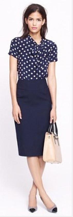 Outfit Post Polka Dot Tie Neck Blouse Navy Pencil Skirt