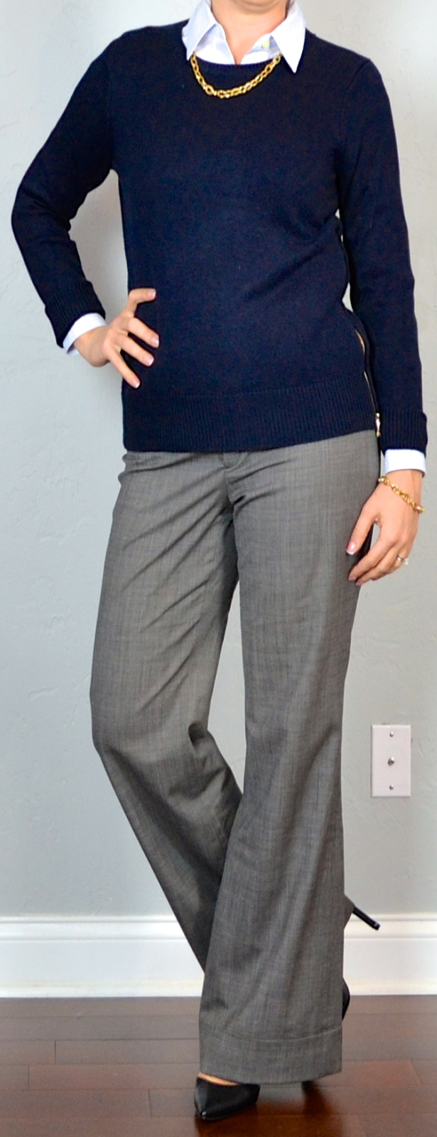 Grey Slacks Purple Shirt Brown Shoes
