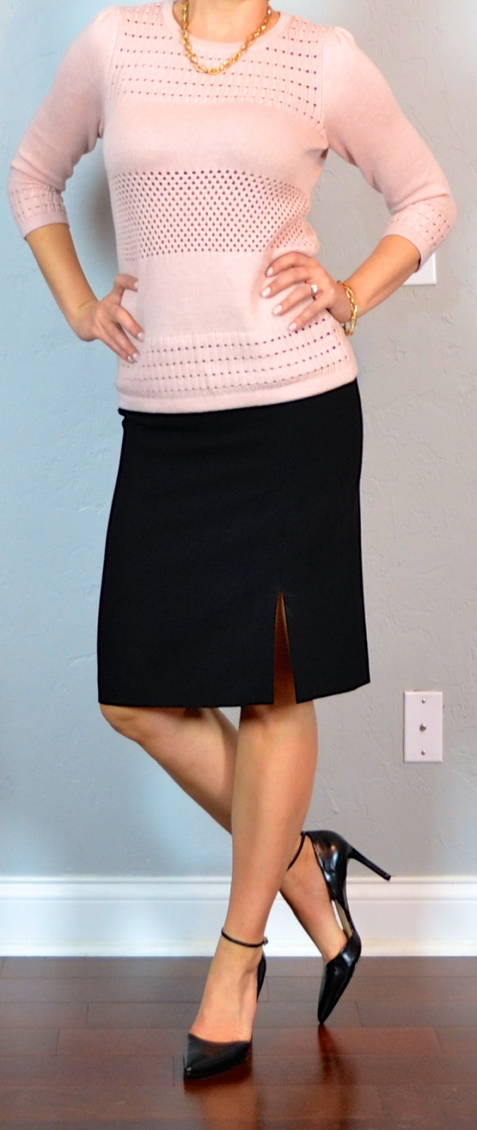 Outfit Post Pink Knit Sweater Black Pencil Skirt Black