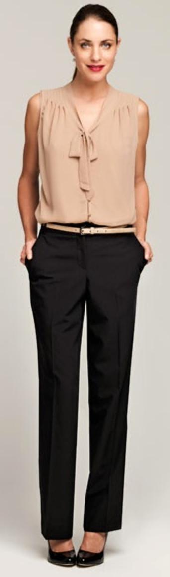 Outfit Post Beige Flutter Sleeve Blouse Black Editor Pants Black