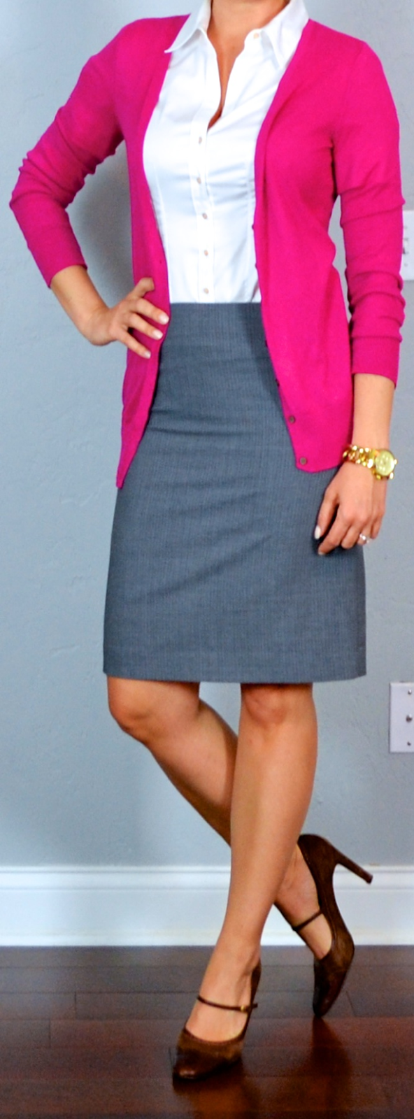 Outfit Post Twofer Striped Pencil Skirt Coral Sleevless