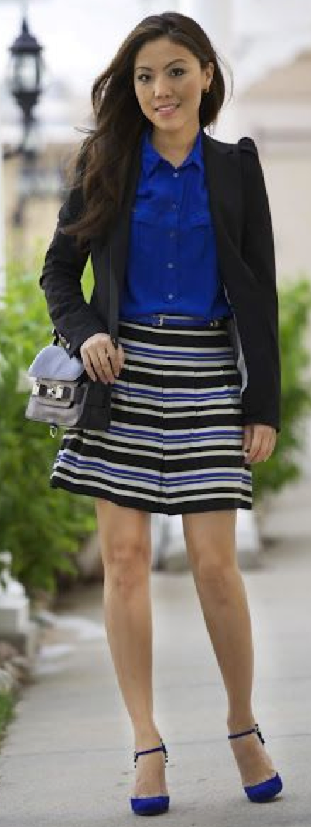 aa557c07a outfit post: cobalt blue blouse, black suit jacket, striped skirt, pointed  toe pumps