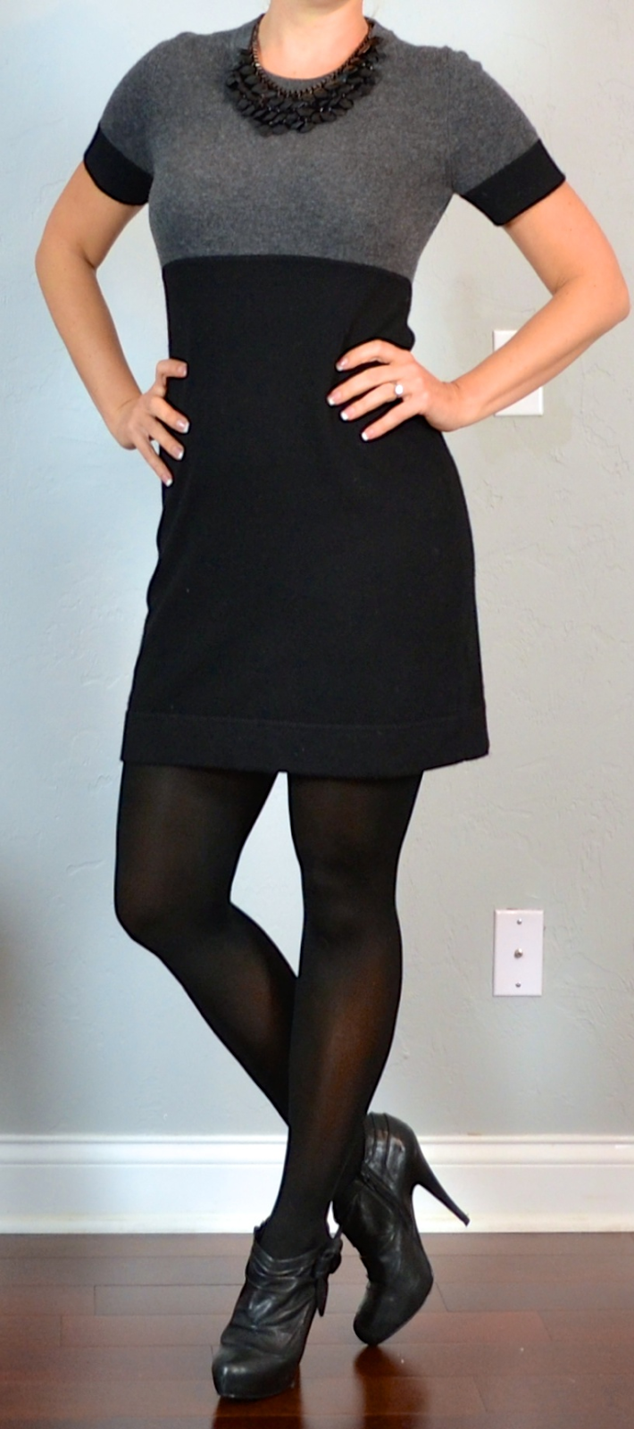 Outfit Post Grey Color Block Sweater Dress Black Ankle Boots