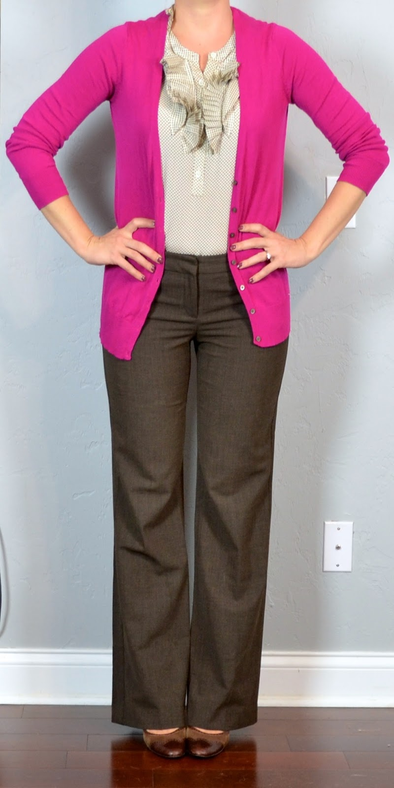 Outfit Of The Day By Jessica S 13 Year Old: Outfit Post: Bright Pink Cardigan, Ruffle Blouse, Brown