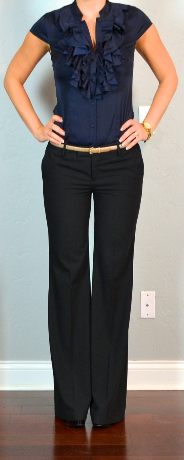 outfit post navy ruffle blouse black 'editor' pants