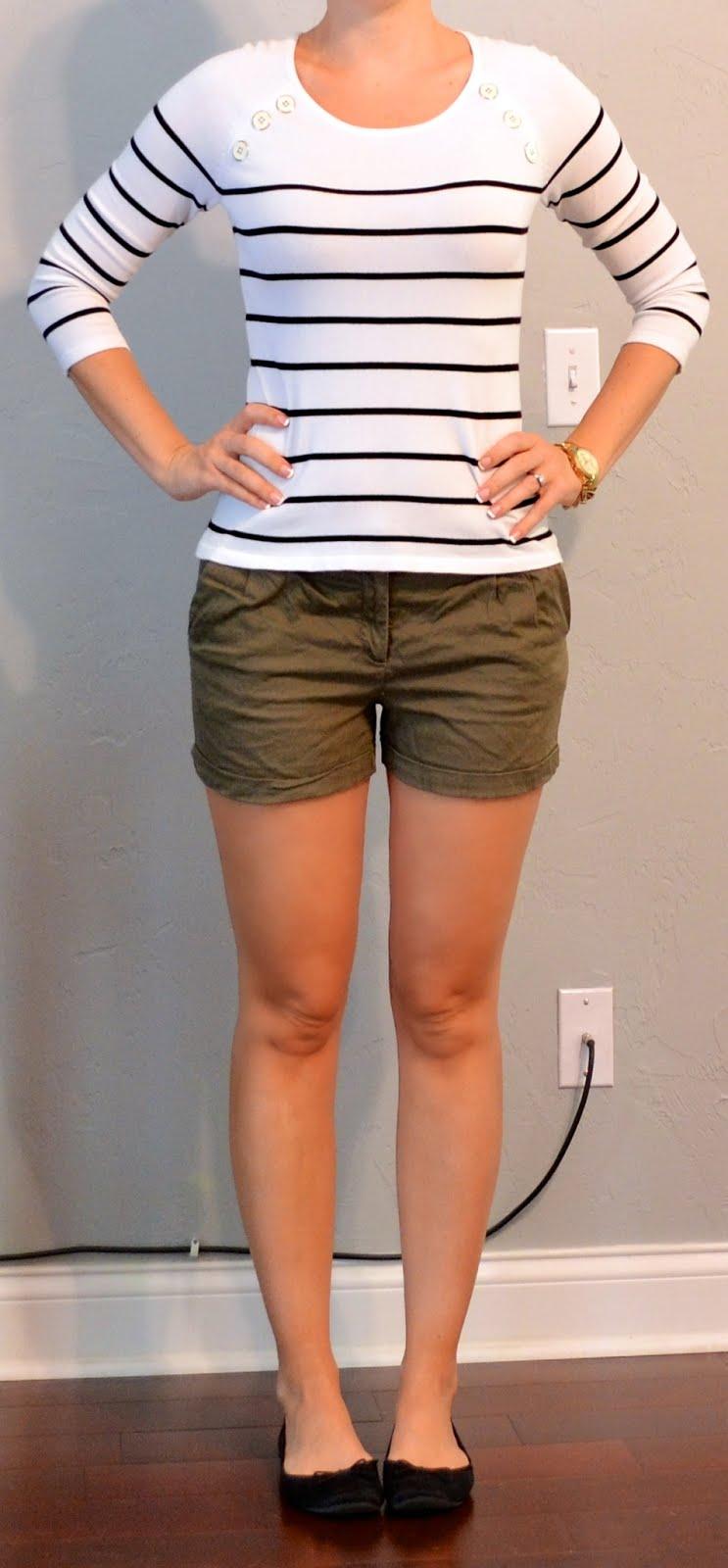 outfit post  striped shirt  green khaki shorts  black flats