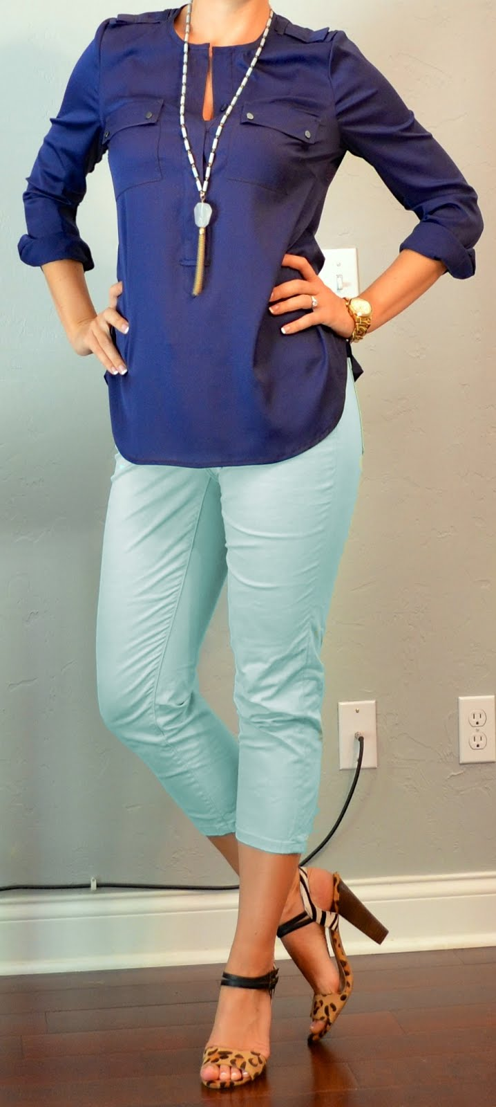 Outfit Post: Navy Blouse, Mint Cropped Jeas, Leopard