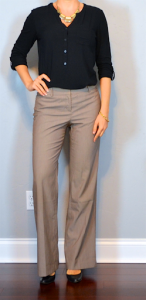 outfit post: black button up shirt, brown pants, black pumps