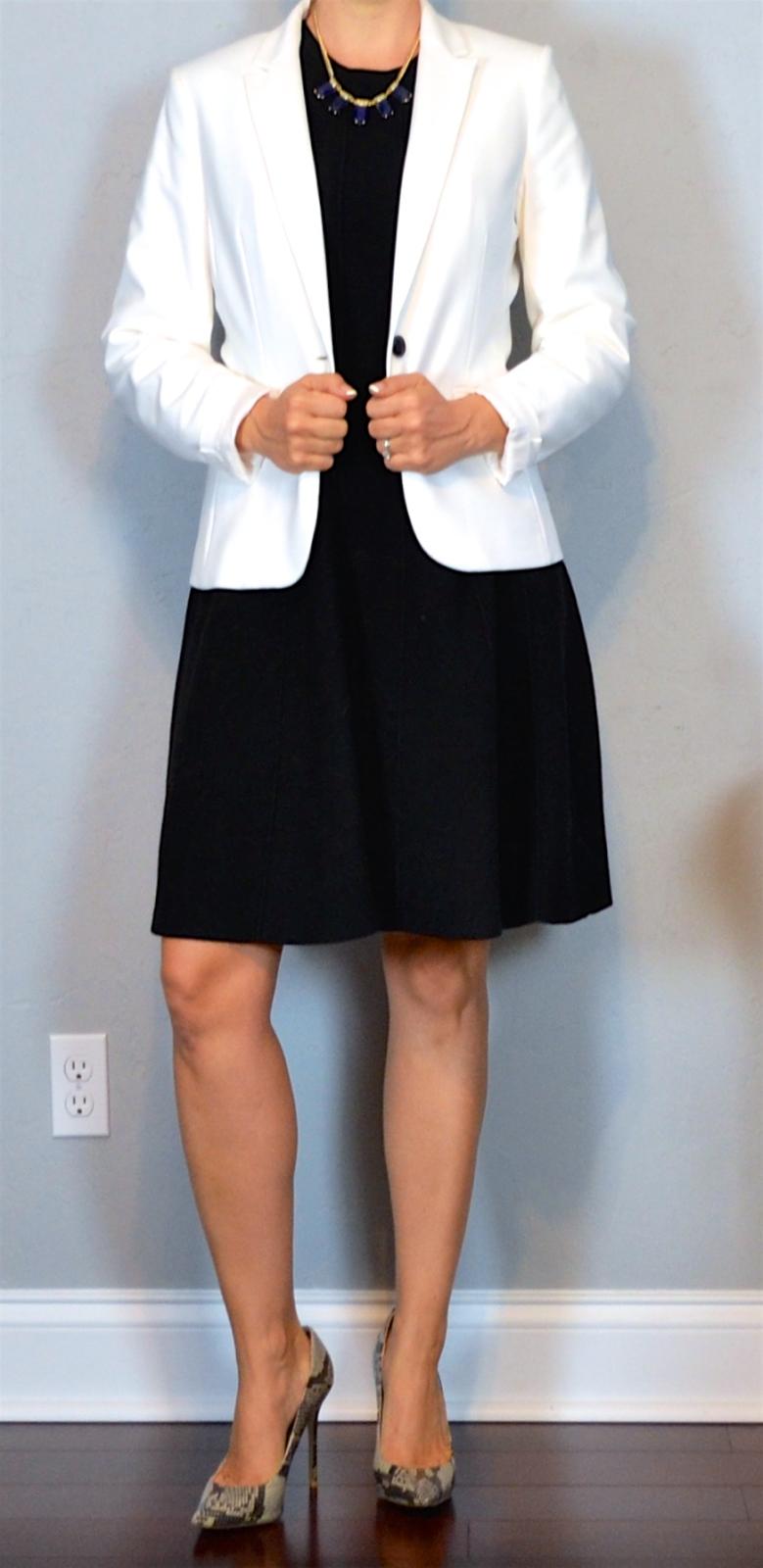 Outfit Post Black Sleeveless Sweater Dress White Jacket