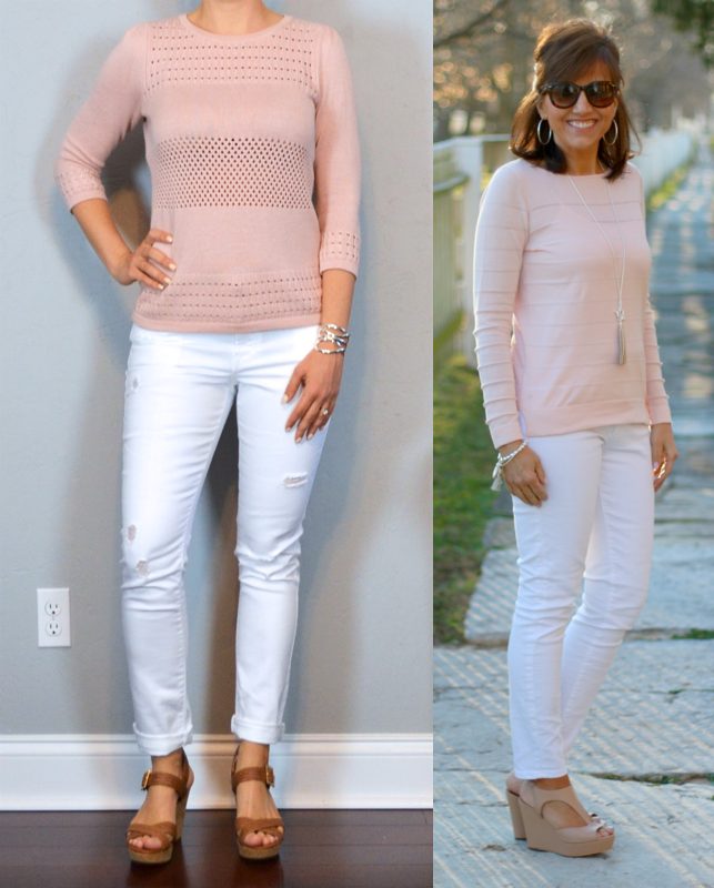 Outfit Post Pink Sweater White Distressed Jeans Brown