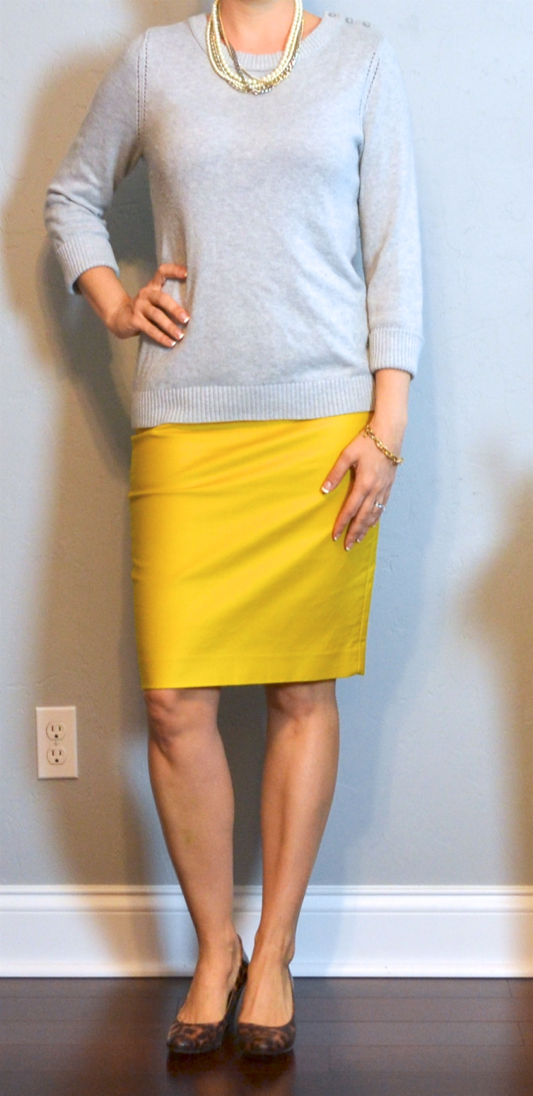 Outfit Post Grey Sweater Mustard Pencil Skirt Leopard