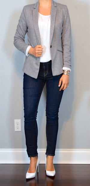 Outfit Post Grey Jersey Blazer White Shell Skinny Jeans