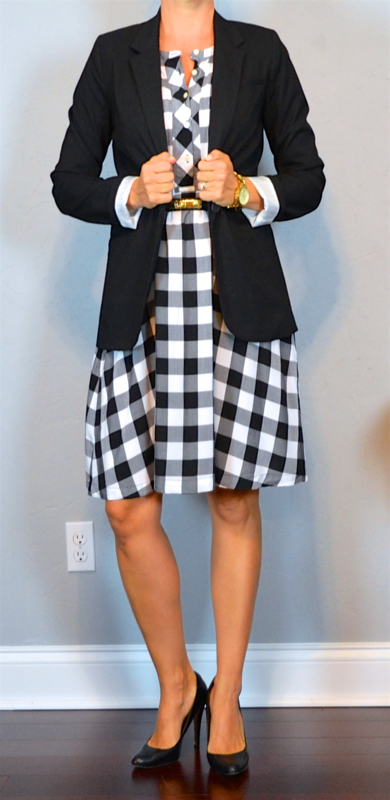 Outfit Post Gingham Dress Black Boyfriend Blazer Black