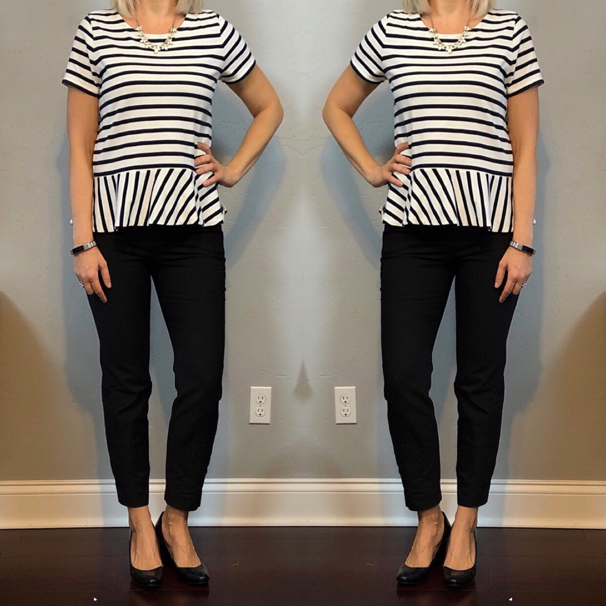 72127636de4677 outfit post: striped peplum top, black ankle pants, black patent wedges