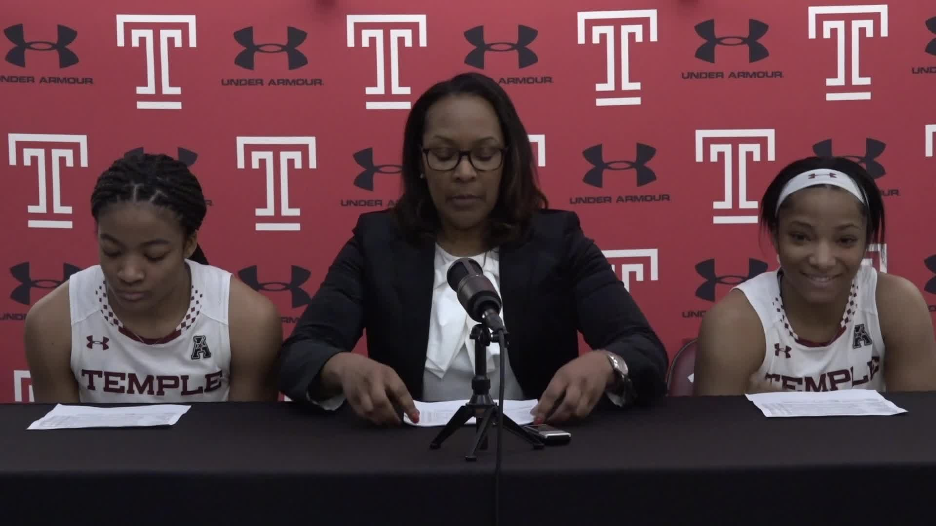 Tonya Cardoza, Emani Mayo, Alliya Butts Post LaSalle Press Conference
