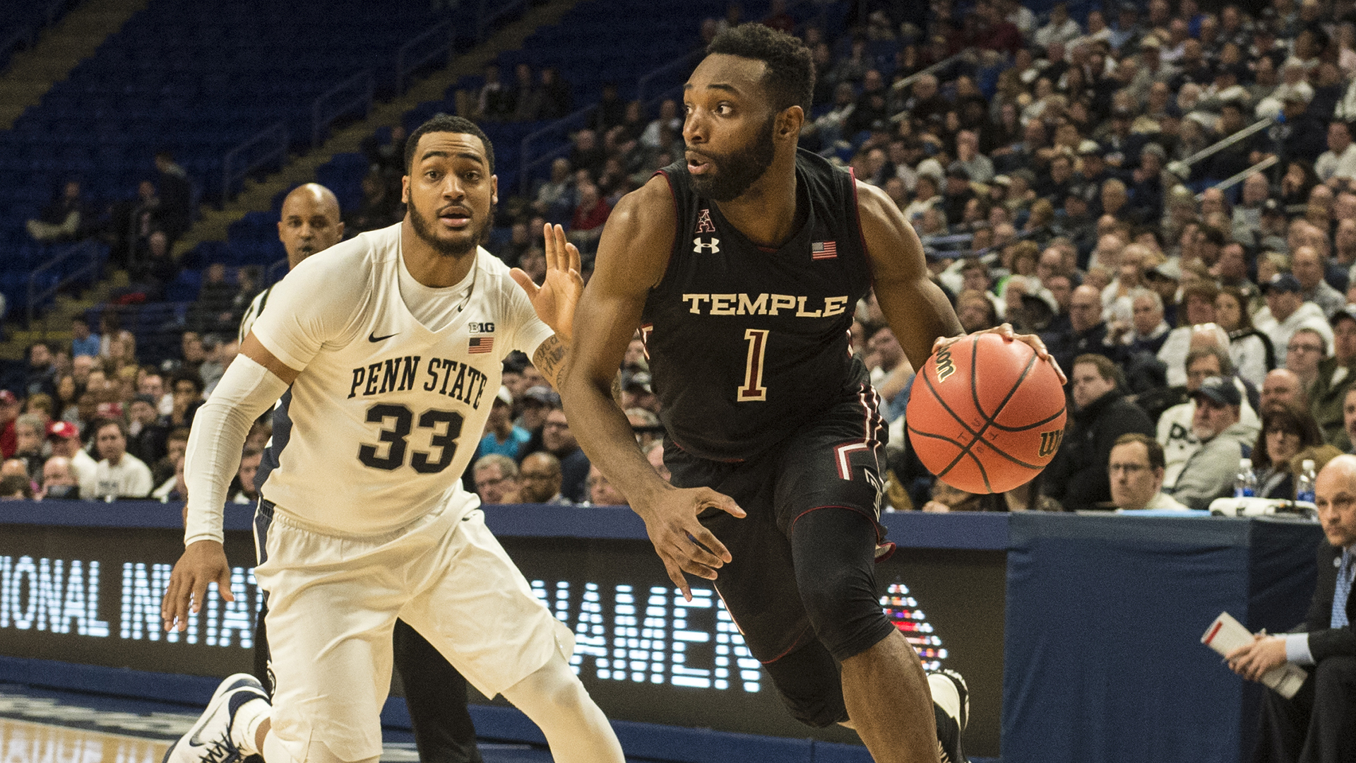 late run lifts penn state over temple in nit first round, 63-57