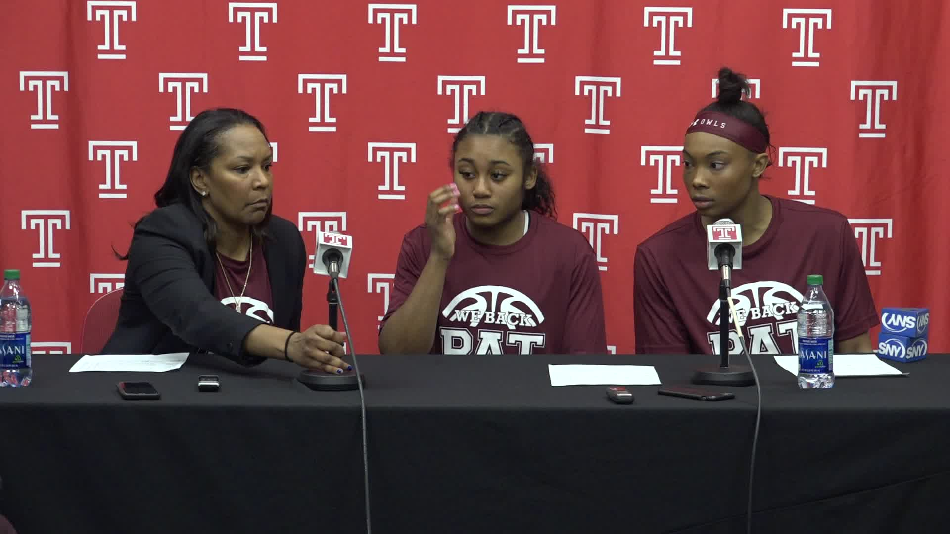 Coach Tonya Cardoza, Alexa Williamson, Desiree Oliver Post UConn Press Conference