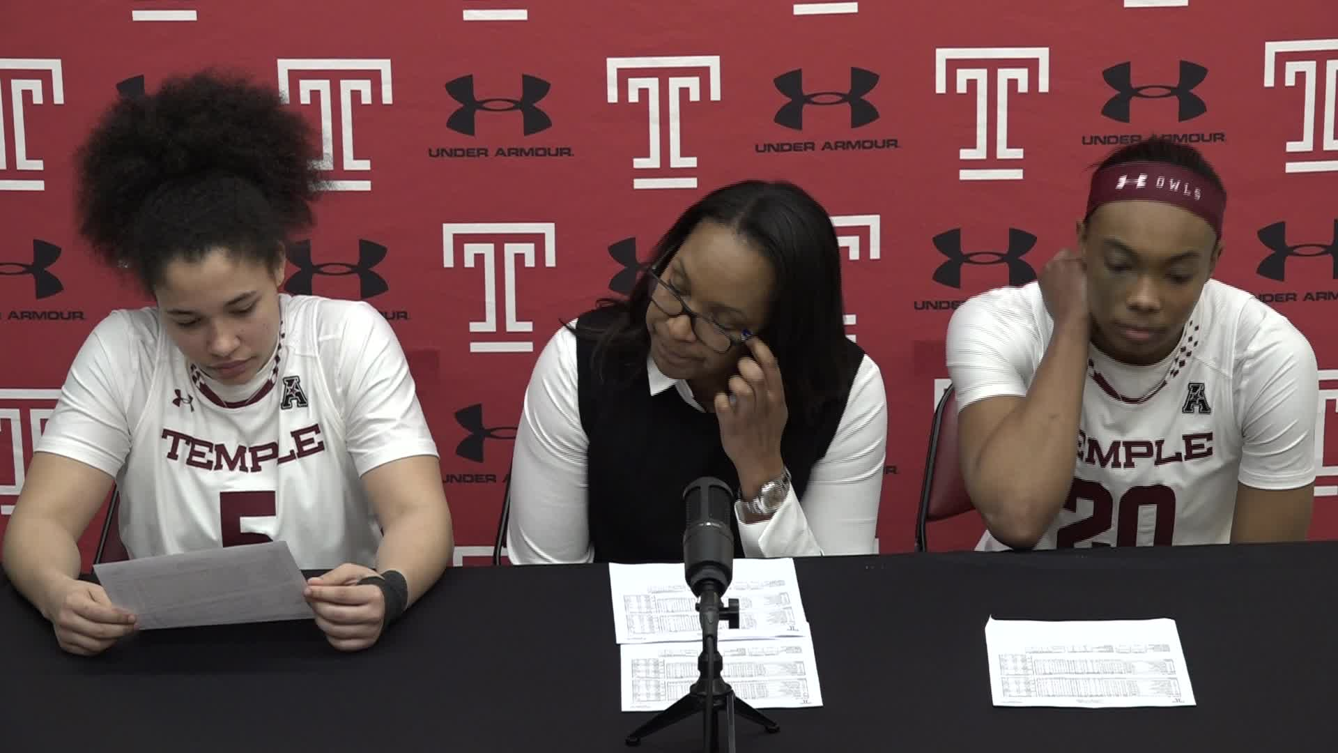 Coach Tonya Cardoza, Alexa Williamson, Marissa Mackins Post Tulane Press Conference