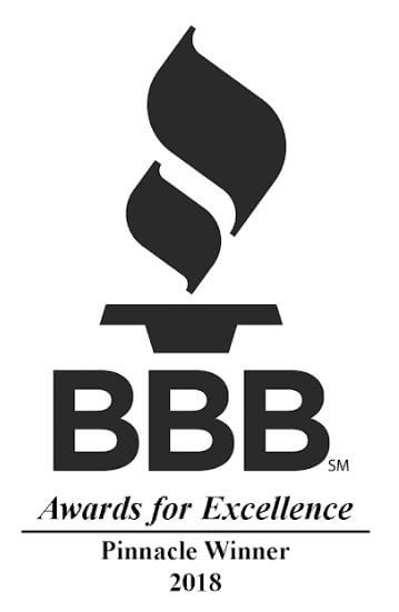 Award for 2018 BBB Pinnacle Winner