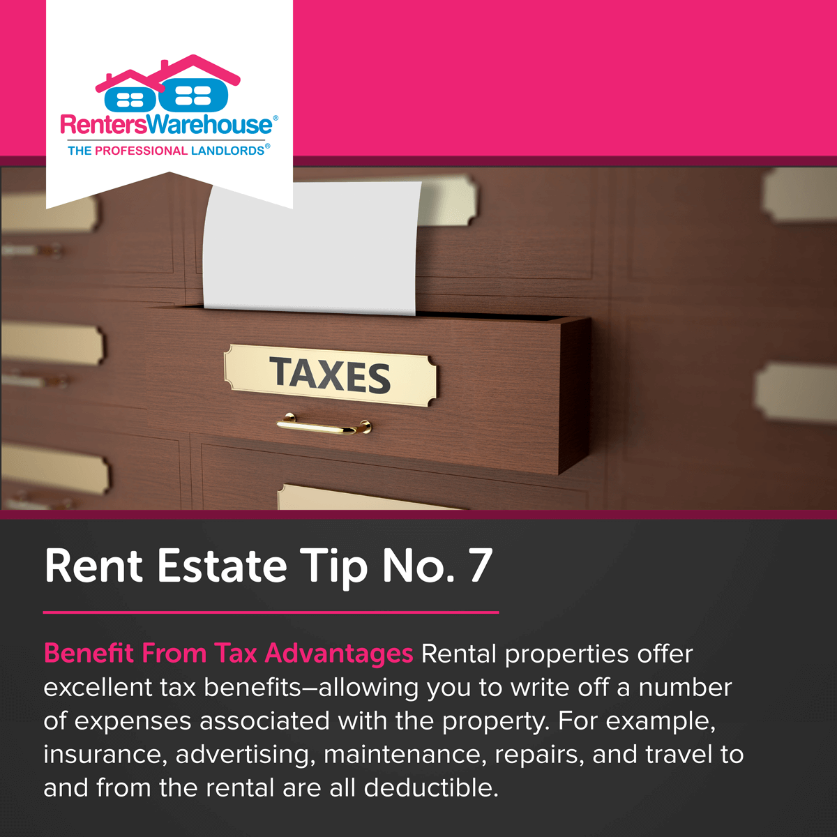 Image related to Rent Estate™ Tip No. 7 - Benefit From Tax Advantages