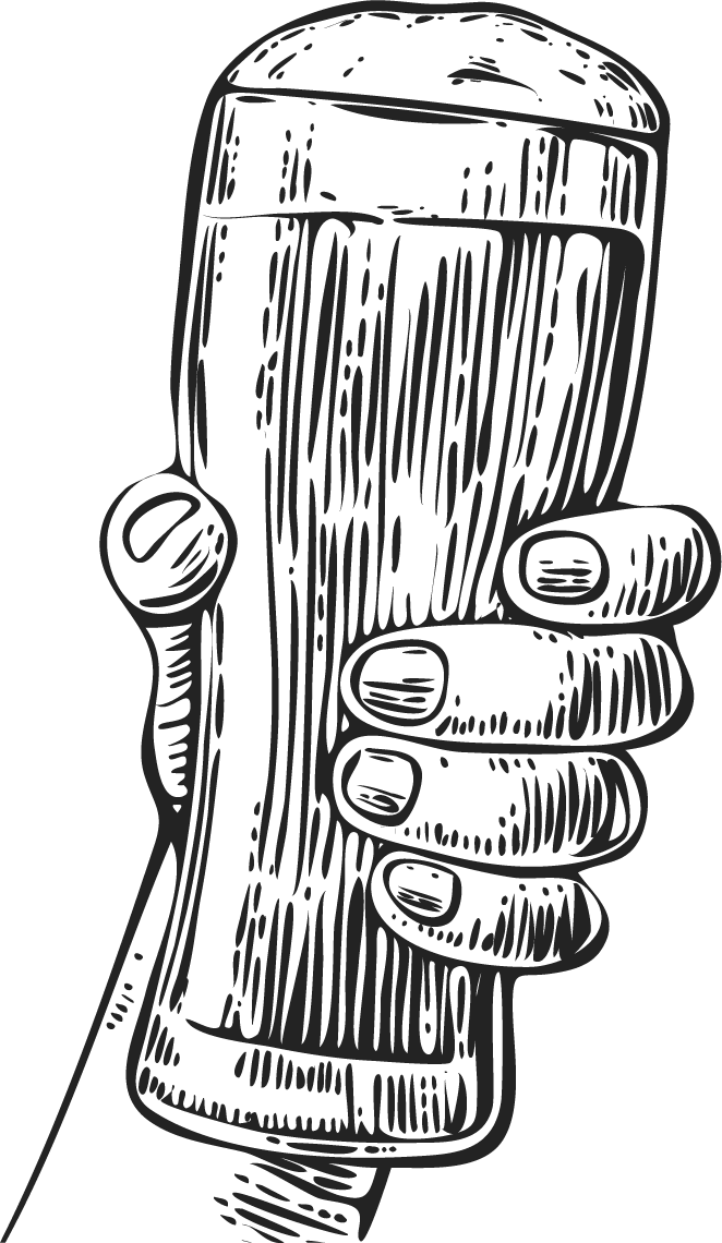 Woodcut illustration hand holding beer pint