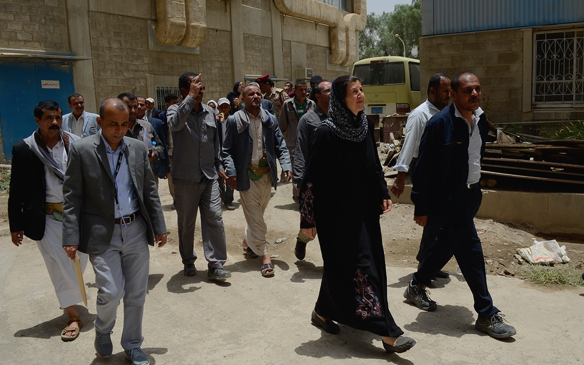 Abby walks with partners in Yemen