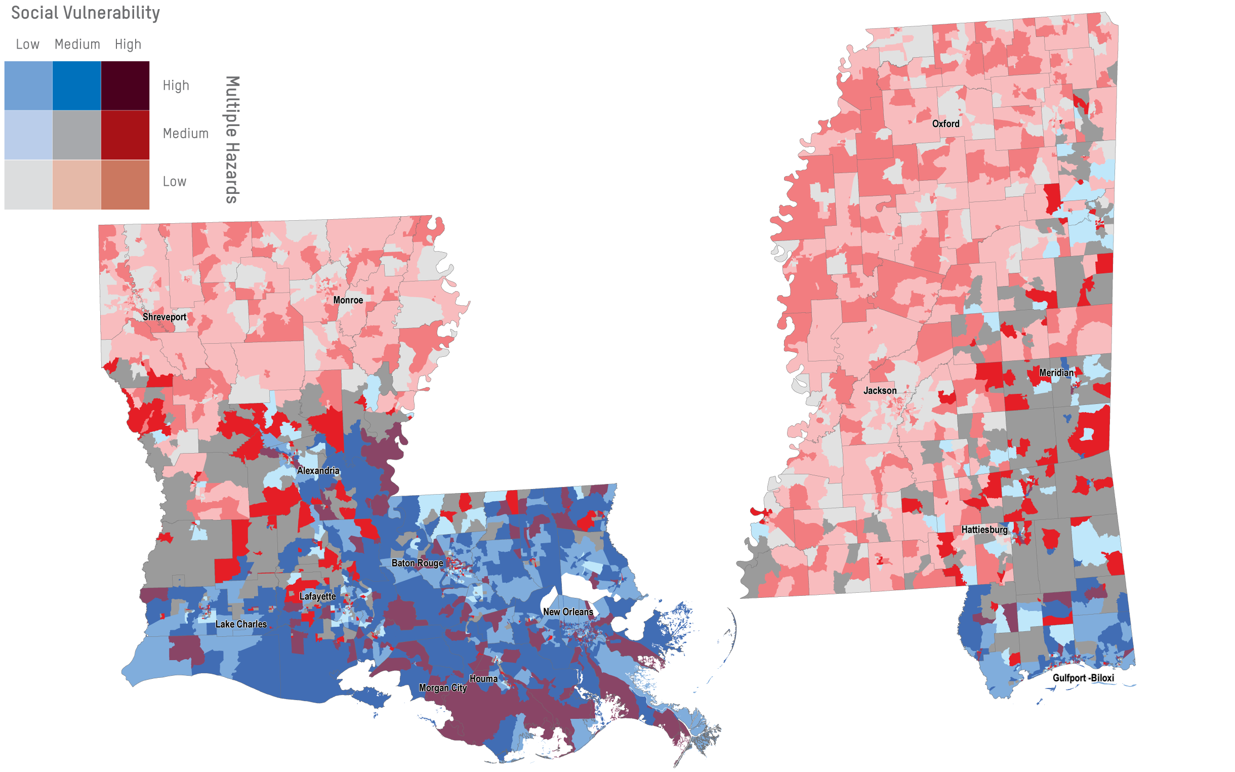 Mapping Social Vulnerability In Southeastern States And The Gulf - Louisiana sea level map