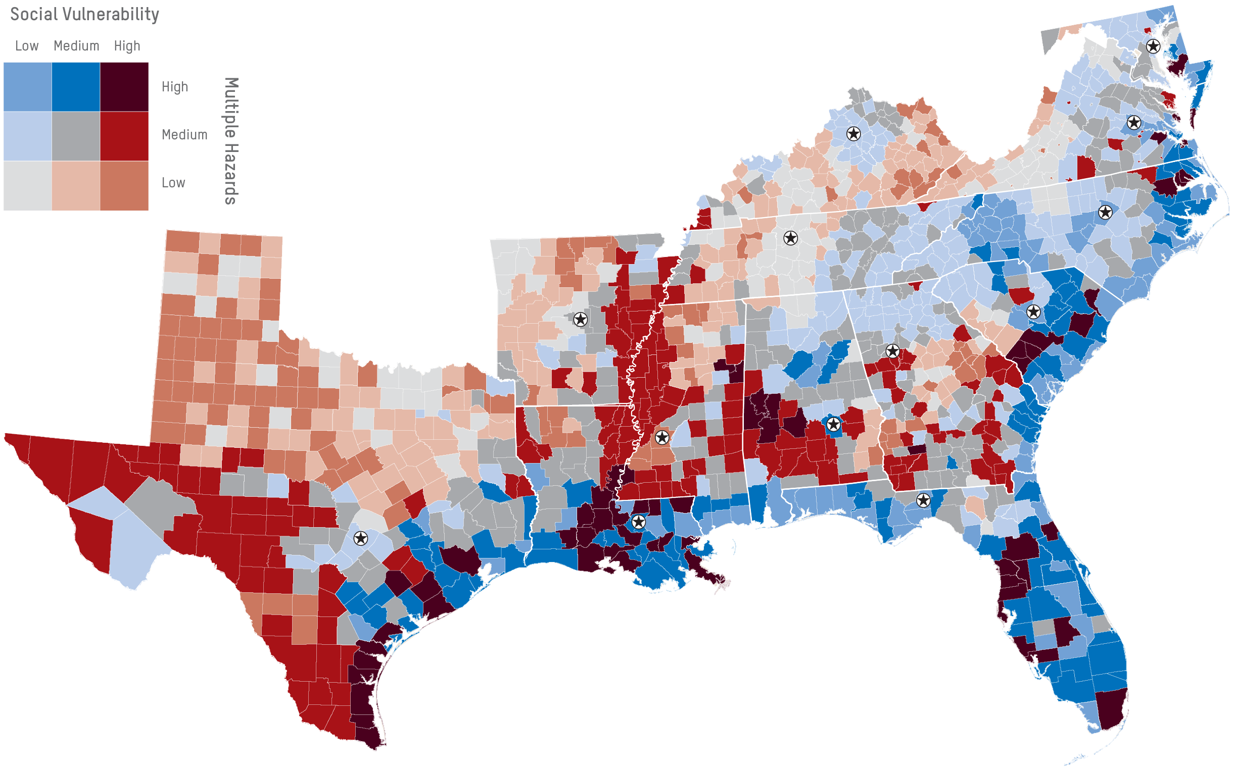This Map Covers 13 States In The Southeast United States It Ilrates The Convergence Of Social Vulnerability Factors Such As Economic Standing And Age