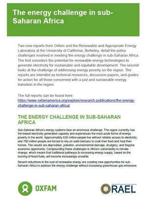 The Energy Challenge in sub-Saharan Africa