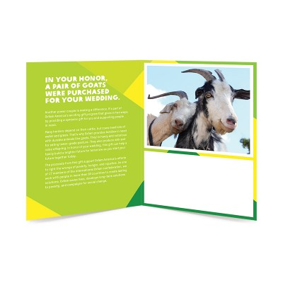 A male and female goat pair inside card