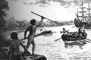 a black and white drawing of aborigines holding spears in a threatening position as British boats approach the shore