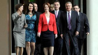 Gillard with senior members of her government after the caucus vote that re-endorsed her as PM.