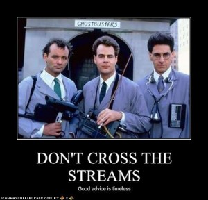 screencap of the three protagonists of the film Ghostbusters,