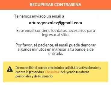 aviso email recupero de contraseña
