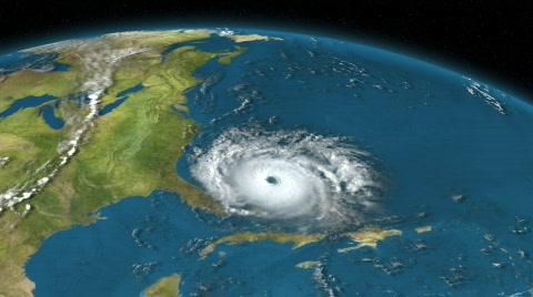 384 A large hurricane heads towards Florida in the Atlantic Ocean.