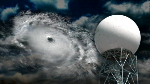 A doppler radar examines a hurricane.
