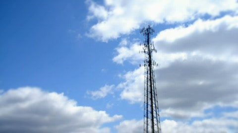 A time lapse shot of a communications tower.