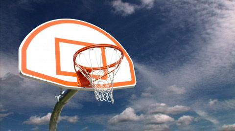 739 Basketball hoop timelapse sky background.