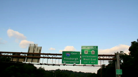 Driving on the Parkway towards Pittsburgh.