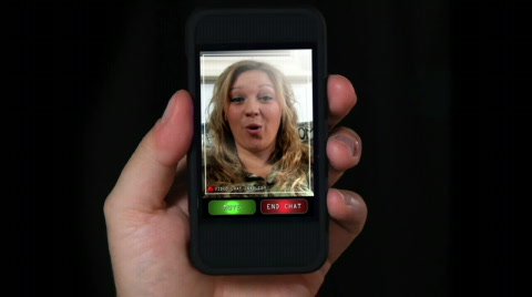 Video chatting on a portable handheld device.  Screen images simulated.