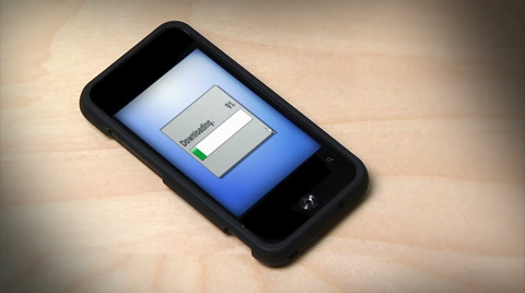 Downloading a file on a smartphone.