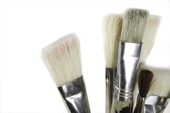 oil painting brushes isolated on white