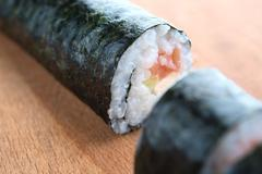 delicious sushi with salmon, avocado and shrimp