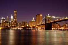 new york - view of manhattan skyline by night from  brooklyn