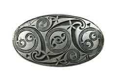 pewter celtic shield brooch isolated on white background