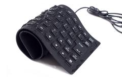 wet silicone waterproof  black keyboard isolated on white