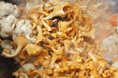 golden chanterelle during frying
