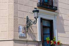 residential house with street lamp, madrid, spain